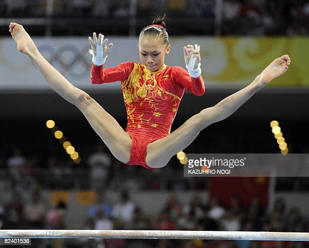 China's Yang Yilin competes in the women's uneven bars final of the artistic gymnastics event of the Beijing 2008 Olympic Games in Beijing on August...