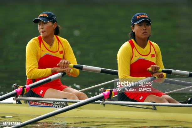 China's Yangyang Zhang and Rui Xu compete in the women's double skulls heat 3