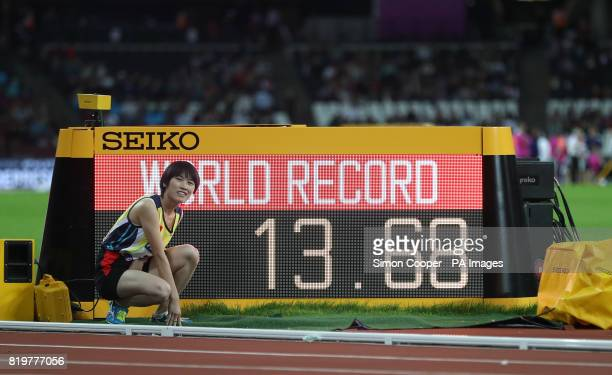 China's Yiting Shi celebrates setting a new world record in the Women's 100m T36 Final during day seven of the 2017 World Para Athletics...