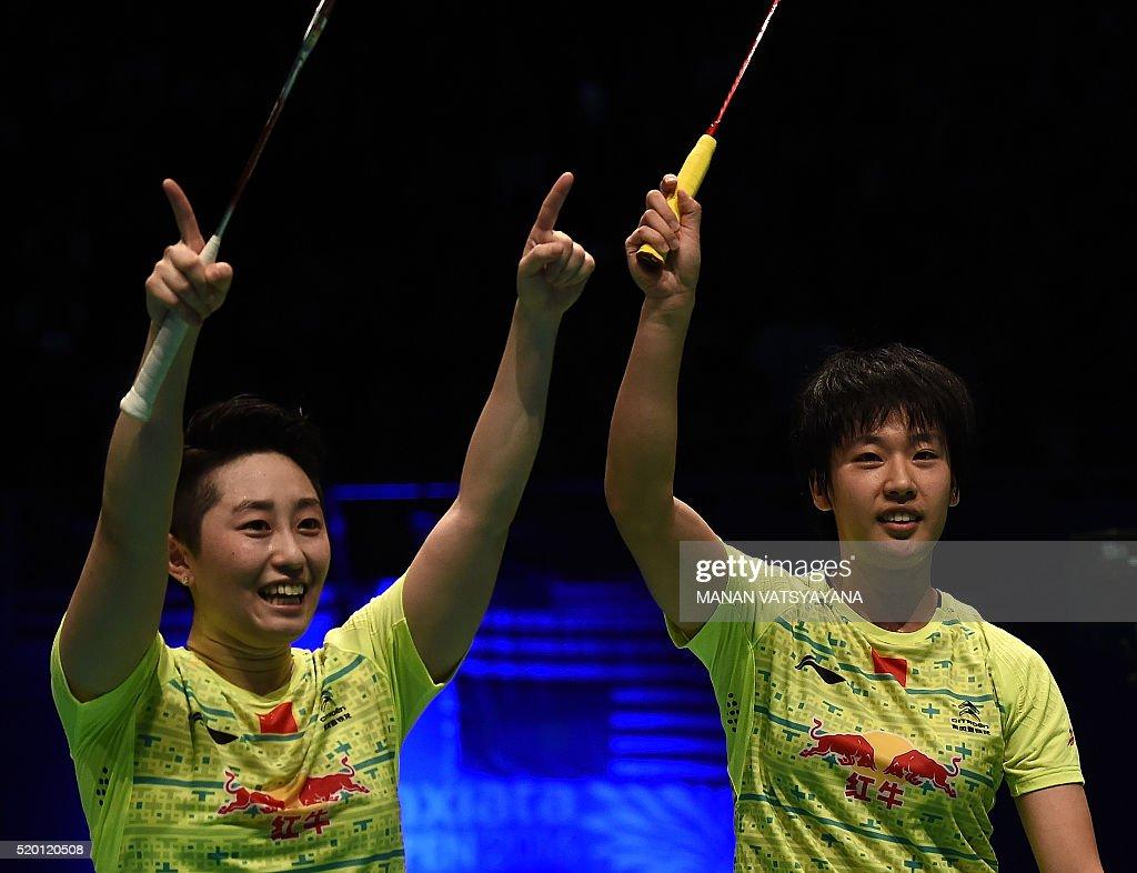 China s Yu Yang L and Tang Yuanting R celebrate after
