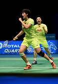 China's Yu Yang and Tang Yuanting celebrate after winning a point against Jung Kyung Eun and Shin Seung Chan of South Korea during the women's...