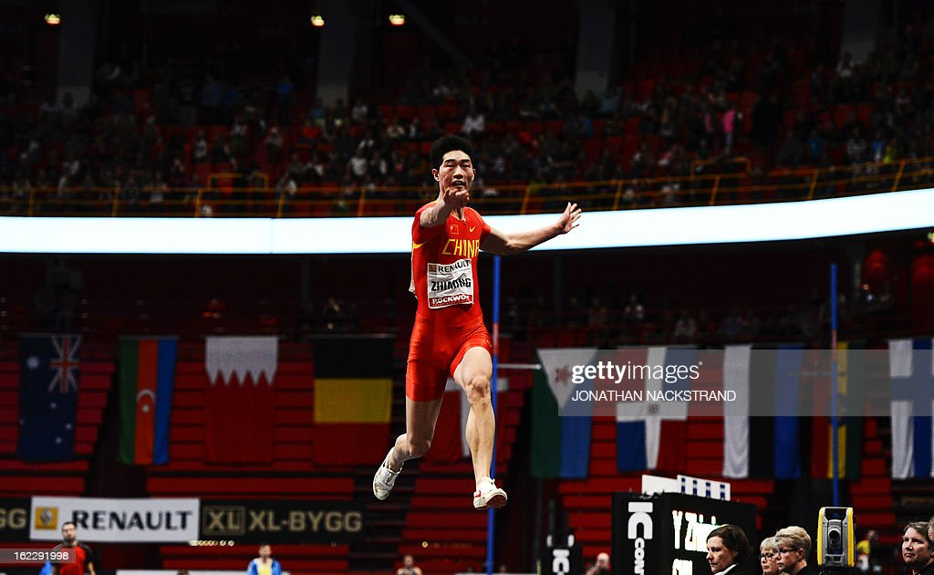 China's Yun Zhiming competes in the men's long jump event during the XL Galan Stockholm Indoor Athletics meeting on February 21, 2013 at the Ericsson Globe Arena in Stockholm.