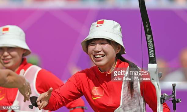China's Yuting Fang after securing victory for her team during WomanOtildes Archery against Italy at Lord's Cricket Ground London on the second day...