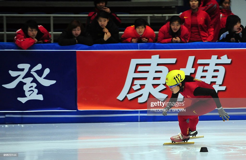 China's Zhang Hui competes in the women's programme of the National Short Track Speed Skating competition in Beijing on January 7, 2010, from where some atheletes will get to represent China at the 2010 Vancouver winter Olympic Games. China made their winter Olympics debut at Lake Placid in 1990 but didn't win its first medals until Albertville in 1992 with two silvers in speed skating. Speed skating has since been China's strongest winter sport accounting for 25, or almost 80 percent of China's winter Olympic medals, including the nine won in Torino in 2006. AFP PHOTO/Frederic J. BROWN