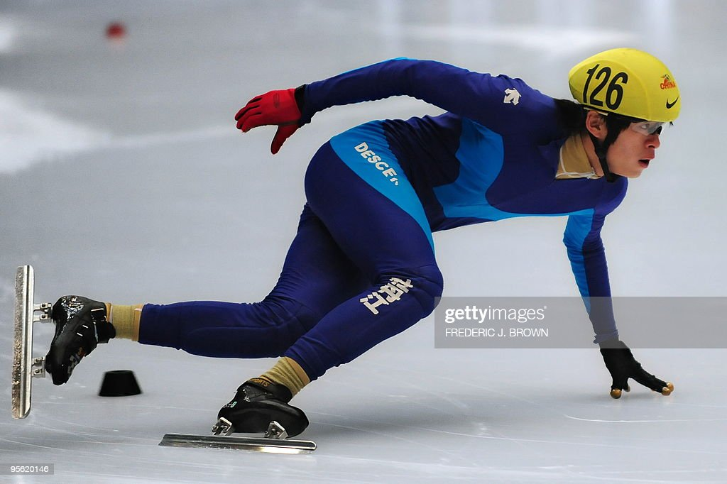 China's Zhang Jiahao competes in the men's programme of the National Short Track Speed Skating competition in Beijing on January 7, 2010, from where some atheletes will get to represent China at the 2010 Vancouver winter Olympic Games. China made their winter Olympics debut at Lake Placid in 1990 but didn't win its first medals until Albertville in 1992 with two silvers in speed skating. Speed skating has since been China's strongest winter sport accounting for 25, or almost 80 percent of China's winter Olympic medals, including the nine won in Torino in 2006. AFP PHOTO/Frederic J. BROWN
