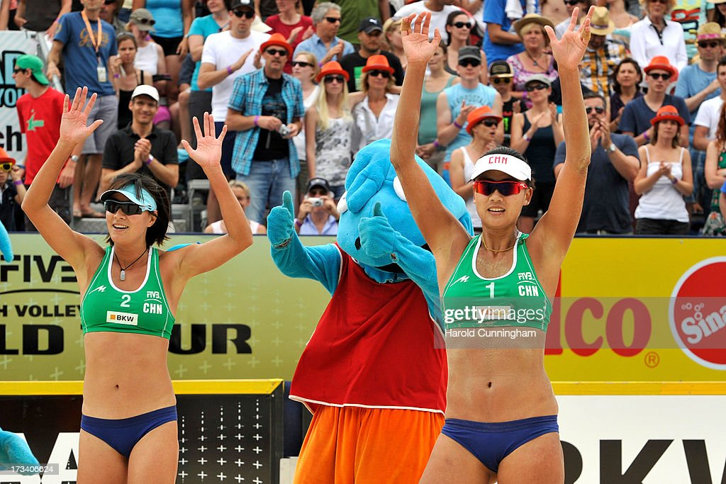China's Zhang Xi and Chen Xue celebrate their victory after the Talita-Lima v Xue-Zhang Xi semi-finals match as part of the FIVB Gstaad Grand Slam fifth day on July 13, 2013 in Gstaad, Switzerland.