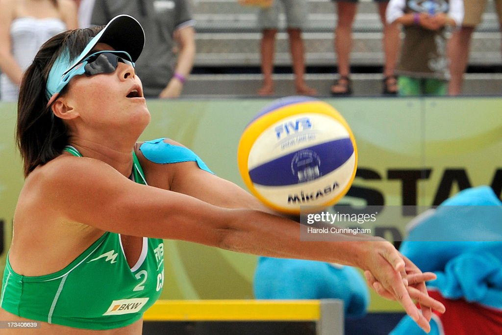 China's Zhang Xi in action during the Talita-Lima v Xue-Zhang Xi semi-finals match as part of the FIVB Gstaad Grand Slam fifth day on July 13, 2013 in Gstaad, Switzerland.