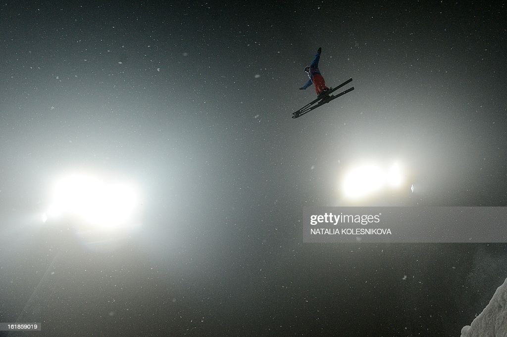 China's Zhongqing Liu jumps during the Freestyle Ski World Cup Men's Aerials Test Event at the Snowboard and Freestyle Center in Rosa Khutor near the Black Sea resort of Sochi, on February 17, 2013. Chinese Guangpu Qi won ahead of Chinese Zhongqing Liu and Belarus Denis Osipau.