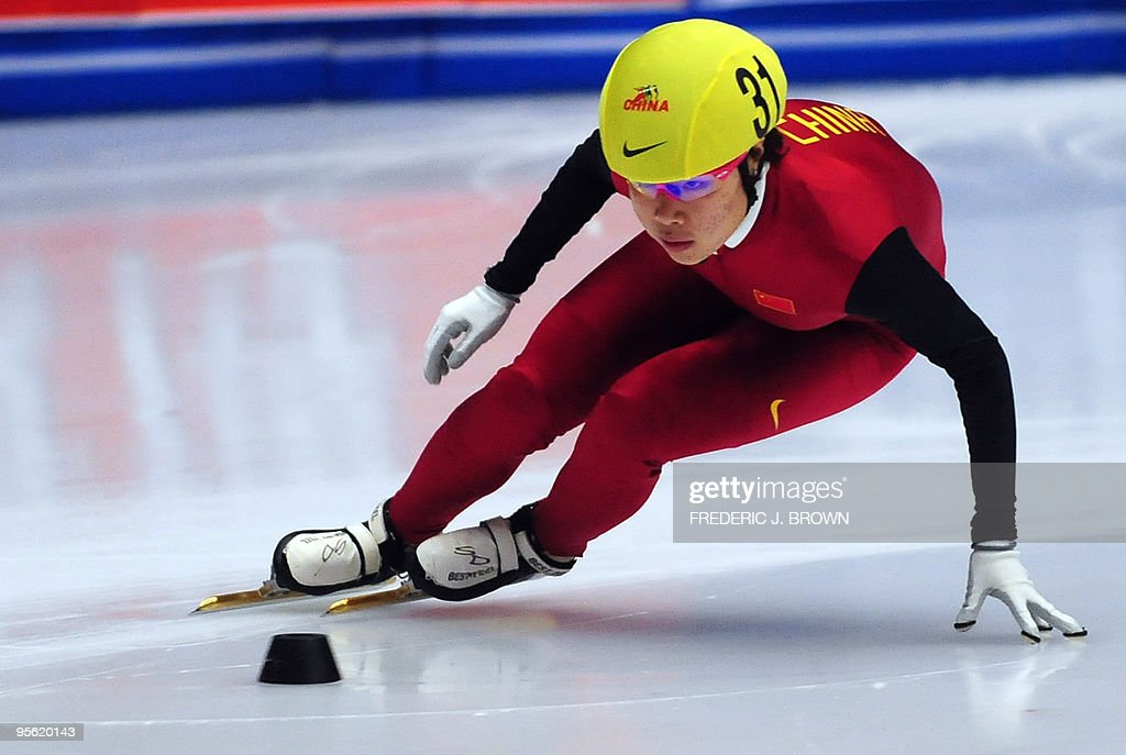 China's Zhou Yang competes in the women's programme of the National Short Track Speed Skating competition in Beijing on January 7, 2010, from where some atheletes will get to represent China at the 2010 Vancouver winter Olympic Games. China made their winter Olympics debut at Lake Placid in 1990 but didn't win its first medals until Albertville in 1992 with two silvers in speed skating. Speed skating has since been China's strongest winter sport accounting for 25, or almost 80 percent of China's winter Olympic medals, including the nine won in Torino in 2006. AFP PHOTO/Frederic J. BROWN