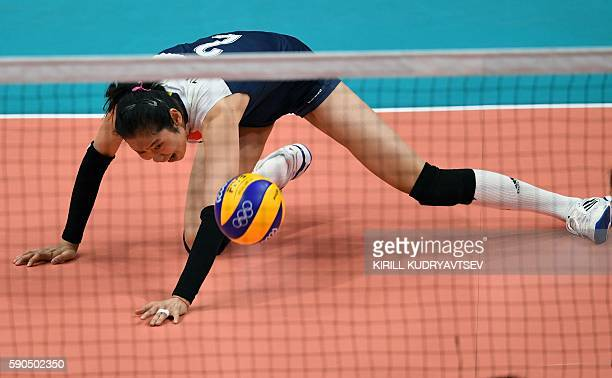 China's Zhu Ting in action during the women's quarterfinal volleyball match between Brazil and China at the Maracanazinho stadium in Rio de Janeiro...