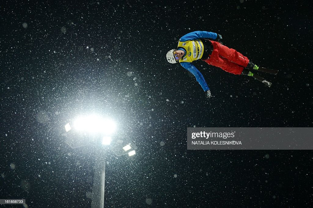 China's Zongyang Jia jumps during the Freestyle Ski World Cup Men's Aerials Test Event at the Snowboard and Freestyle Center in Rosa Khutor near the Black Sea resort of Sochi, on February 17, 2013. Chinese Guangpu Qi won ahead of Chinese Zhongqing Liu and Belarus Denis Osipau.