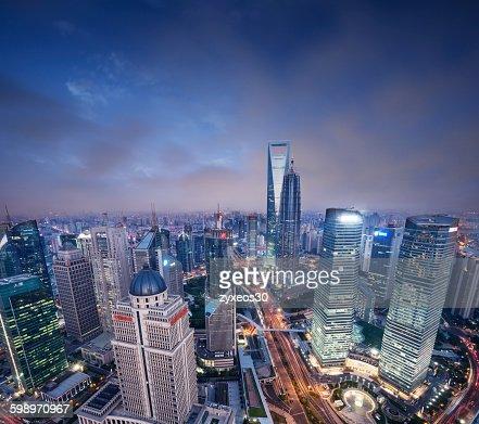 China,Shanghai at night,Lujiazui financial distric