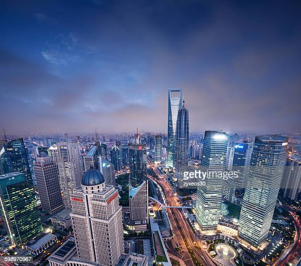 China,Shanghai at night,Lujiazui financial distric