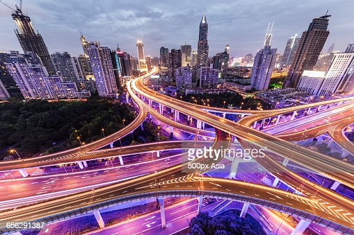 Yanan China  City new picture : China,shanghai Night View of Yanan Road Viaduct in Shanghai
