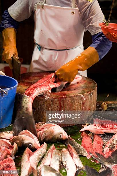 Chinatown Fish Market, Fishmonger Butcher Cuts Catch of the Day