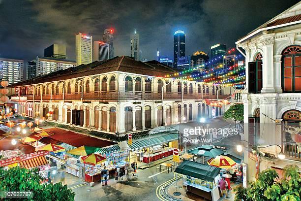 Chinatown street at night, Singapore