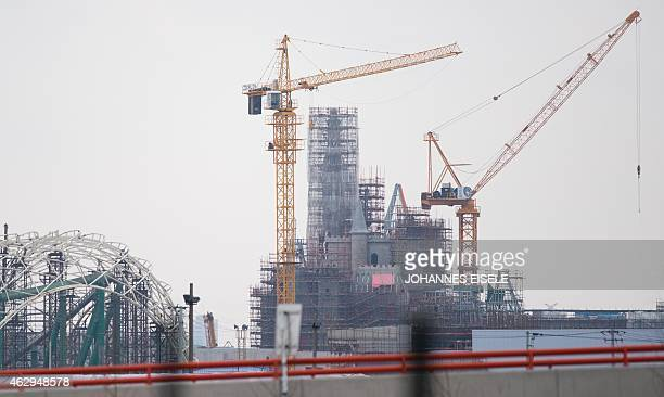 ChinaUSleisurecinemalifestyleDisney FOCUS by Bill Savadove This photo taken in Shanghai on February 2 shows the castle under construction of the...