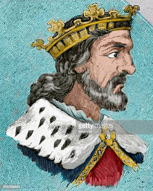 Chindasuinth Visigothic King of Hispania from 642653 Portrait Engraving Colored