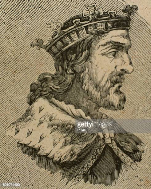 Chindasuinth Visigothic King of Hispania from 642653 Portrait Engraving