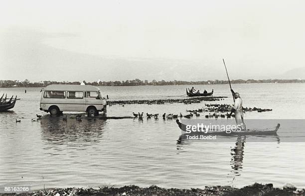 Chindwin River with water taxis