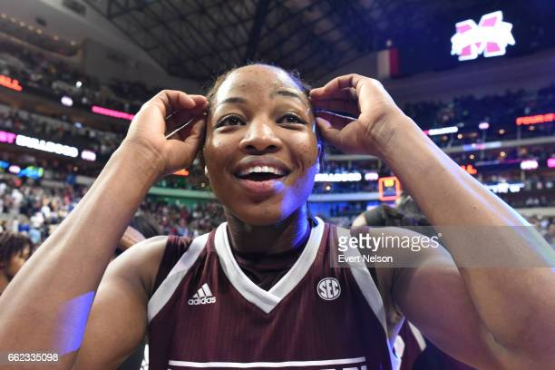 Chine Okorie center for the Mississippi State Lady Bulldogs reacts to their victory over the University of Connecticut Huskies during the 2017 NCAA...
