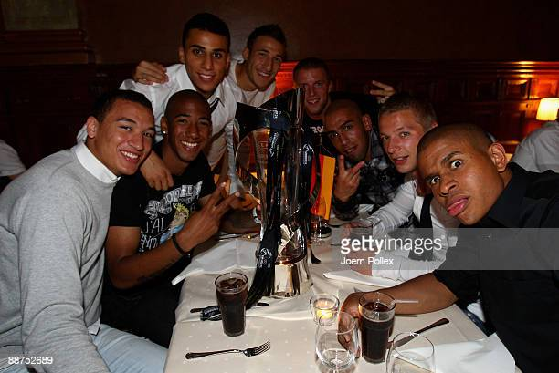 Chinedu Ede Patrick Ebert Ashkan Dejagah Daniel Adlung Fabian Johnson Aenis BenHatira and Jerome Boateng of the German team are celebrating with the...