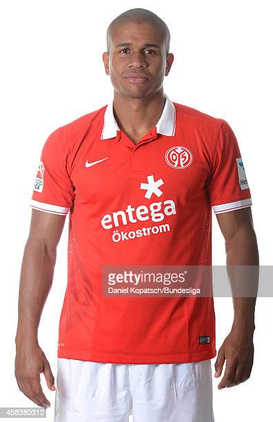 Chinedu Ede poses during the DFL Media Day of 1 FSV Mainz 05 at Coface Arena on July 18 2014 in Mainz Germany