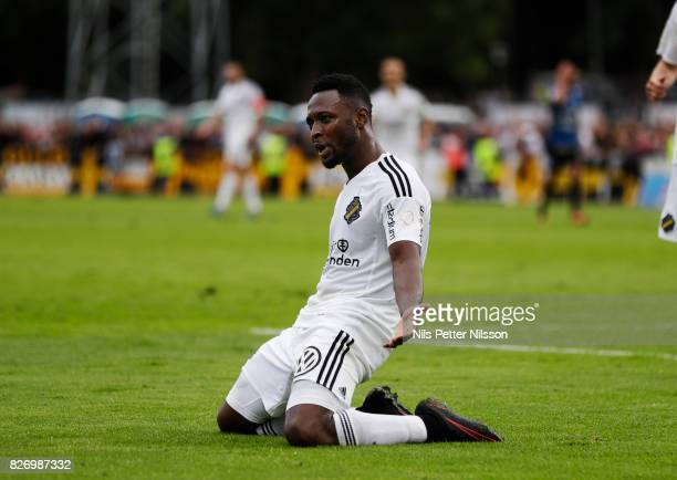 Chinedu Obasi of AIK celebrates after scoring to 03 during the Allsvenskan match between IK Sirius FK and AIK at Studenternas IP on August 6 2017 in...