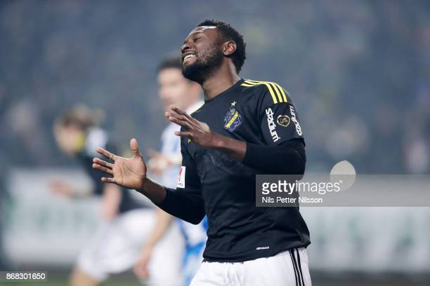 Chinedu Obasi of AIK dejected during the Allsvenskan match between AIK and IFK Goteborg at Friends arena on October 30 2017 in Solna Sweden