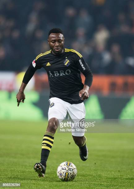 Chinedu Obasi of AIK during the Allsvenskan match between AIK and IF Elfsborg at Friends Arena on October 1 2017 in Solna Sweden