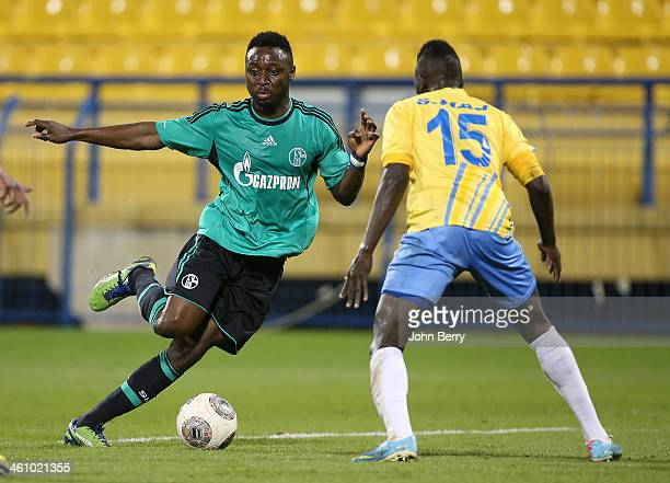 Chinedu Obasi of Schalke in action during the friendly match between Al Gharafa SC and Schalke 04 at the Al Gharafa Stadium on January 6 2014 in Doha...