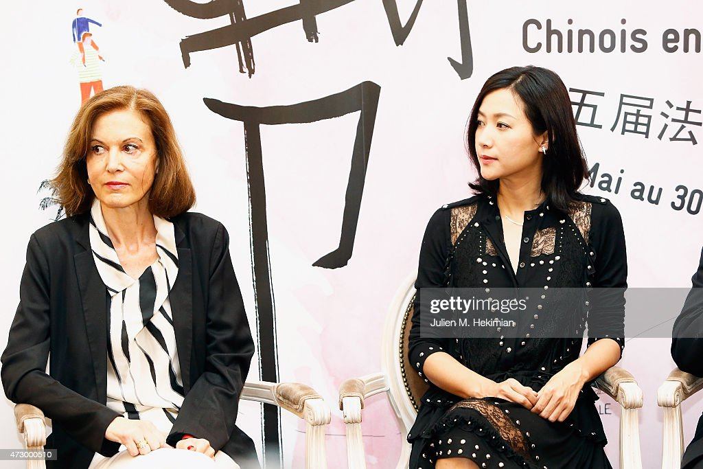Chineese actress Xu Jinglei and Anne Fontaine attend the 5th Chinese Film Festival press conference on May 11 2015 in Paris France