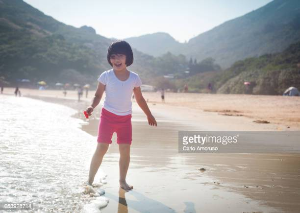 Chines 5yo girl at the beach