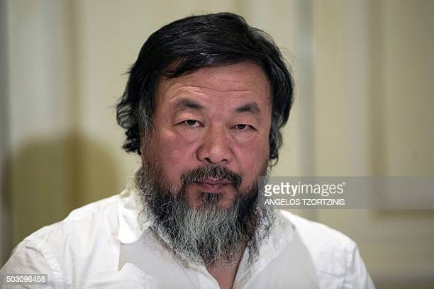 Chinese activist and artist Ai Weiwei is pictured before a press conference in Athens on January 1 2016 Chinese dissident artist Ai Weiwei paid on...