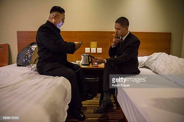 Chinese actor and United States President Barack Obama impersonator Xiao Jiguo 29 years and North Korean leader Kim Jung Un impersonator Jia Yongtang...