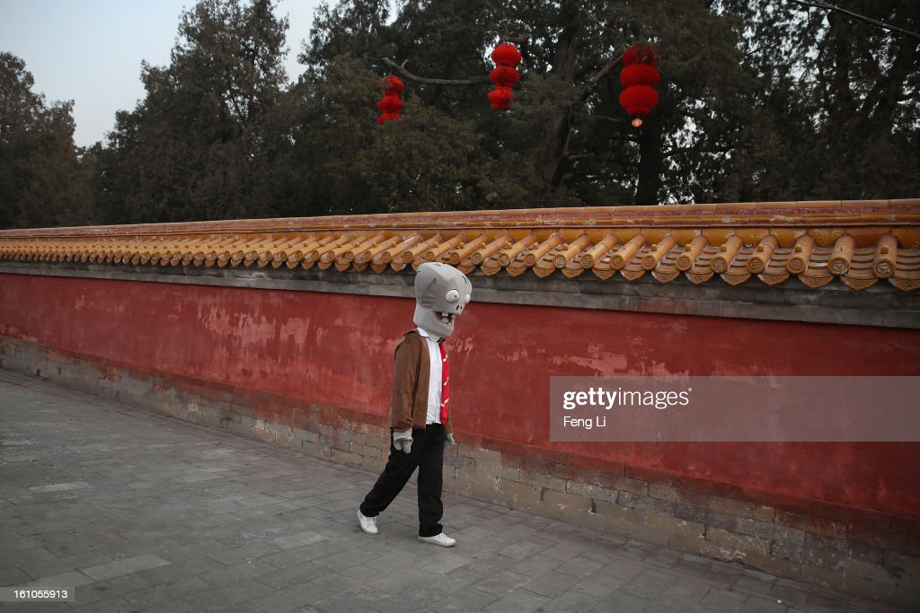 A Chinese actor dressed as the zombie of game Plants vs. Zombies walks in the Spring Festival Temple Fair at the Temple of Earth park on February 9, 2013 in Beijing, China. The Chinese Lunar New Year of Snake also known as the Spring Festival, which is based on the Lunisolar Chinese calendar, is celebrated from the first day of the first month of the lunar year and ends with Lantern Festival on the Fifteenth day.