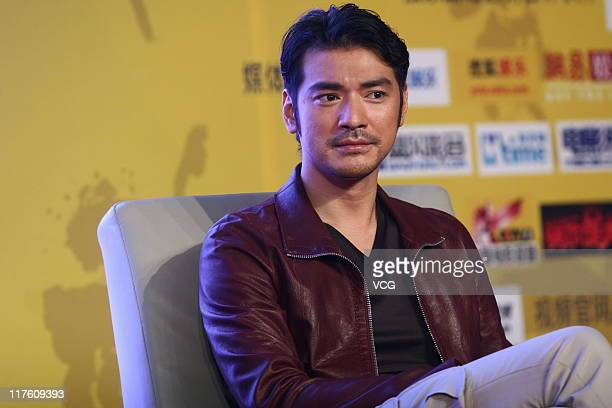 Chinese actor Takeshi Kaneshiro attends 'Wu Xia' press conference at Park Hyatt Beijing on June 28 2011 in Beijing China