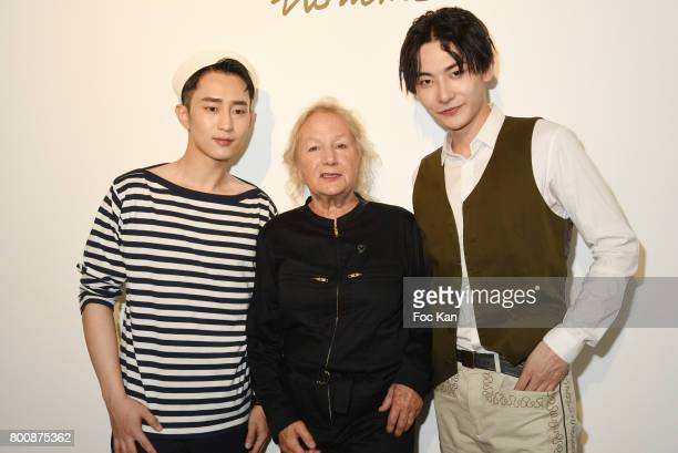 Chinese actor Wenzuo Song Agnes Band chinese actor Ruichang Wang pose during Agnes B Menswear Spring/Summer 2018 show as part of Paris Fashion Week...