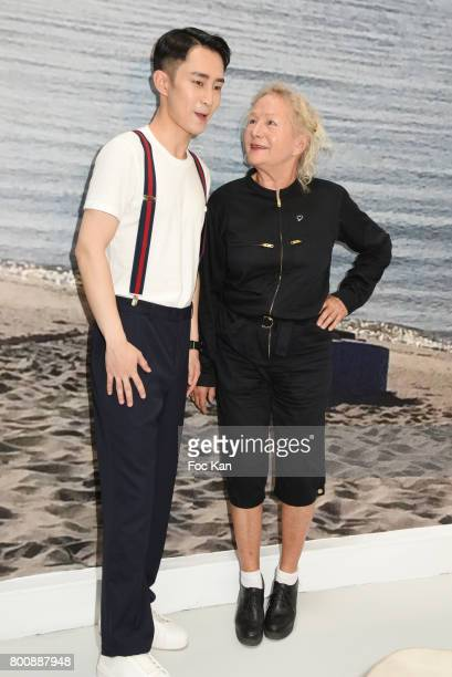 Chinese actor Wenzuo Song and Agnes B attend Agnes B Menswear Spring/Summer 2018 show as part of Paris Fashion Week ton June 25 2017 in Paris France