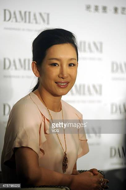 Chinese actress Amanda Qin attends the press conference of 'Damiani Metropolitan Dream Collection By H Nakata' with Japanese football star Nakata...