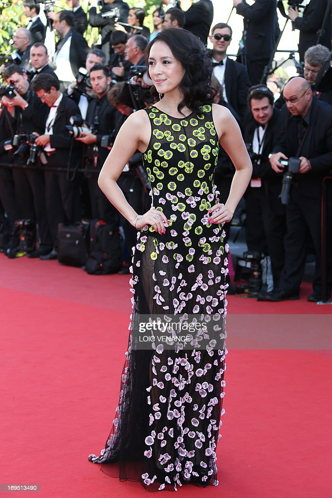 Chinese actress and member of the Un Certain Regard Jury Zhang Ziyi poses on May 26, 2013 as she arrives for the screening of the film 'Zulu' presented Out of Competition at the 66th edition of the Cannes Film Festival in Cannes.