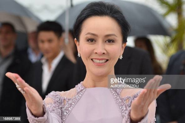 Chinese actress Carina Lau gestures on May 18 2013 while posing during a photocall for the film 'Bends' presented in the Un Certain Regard section at...