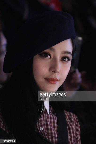 Chinese actress Fan Bingbing watches the show during VISCAP Yuan Bing Collection on the third day of MercedesBenz China Fashion Week Autumn/Winter...
