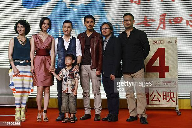 Chinese actress Kara Hui actress Tang Wei actor Donnie Yen actor Takeshi Kaneshiro director Peter Chan and actor Jiang Wu attend 'Wu Xia' press...