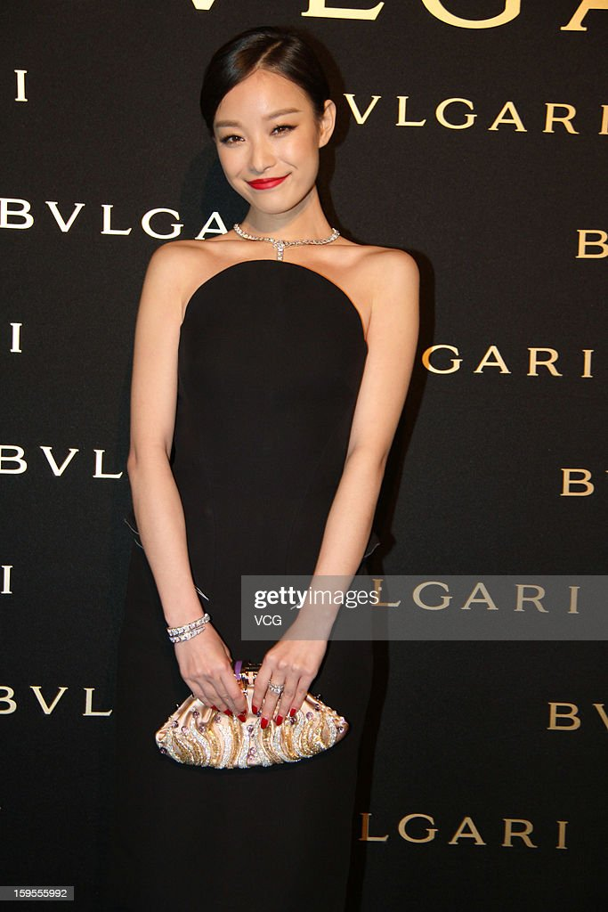 Chinese actress <a gi-track='captionPersonalityLinkClicked' href=/galleries/search?phrase=Ni+Ni&family=editorial&specificpeople=8736550 ng-click='$event.stopPropagation()'>Ni Ni</a> attends the opening ceremony of Bvlgari Store on January 15, 2013 in Shanghai, China.