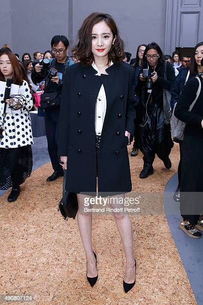 Chinese Actress Yang Mi attends the Chloe show as part of the Paris Fashion Week Womenswear Spring/Summer 2016 Held at Grand Palais on October 1 2015...
