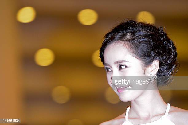 Chinese actress Yang Mi attends the Opening Night for the Hong Kong International Film Festival at the Hong Kong Convention and Exhibition Centre on...