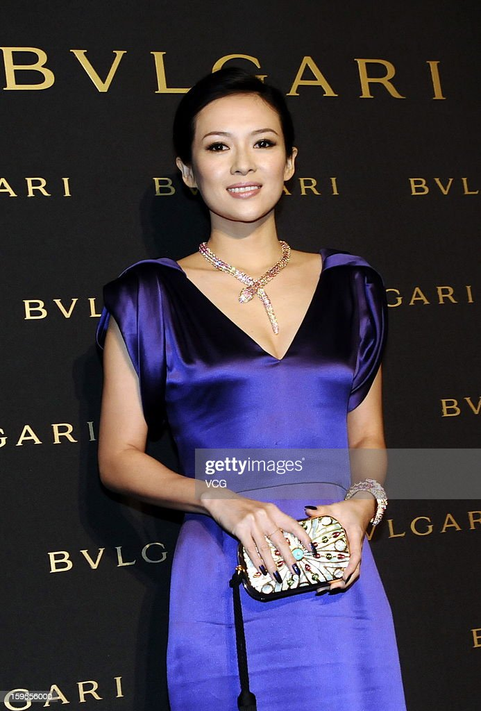 Chinese actress <a gi-track='captionPersonalityLinkClicked' href=/galleries/search?phrase=Zhang+Ziyi&family=editorial&specificpeople=172013 ng-click='$event.stopPropagation()'>Zhang Ziyi</a> attends the opening ceremony of Bvlgari Store on January 15, 2013 in Shanghai, China.