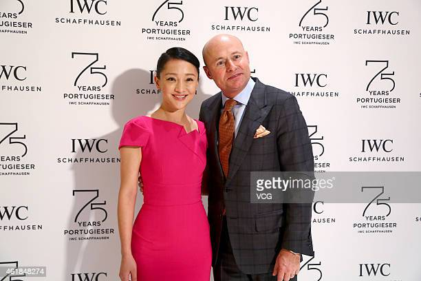 Chinese actress Zhou Xun and CEO of IWC Schaffhausen Georges Kern attend the 25th Salon International de la Haute Horlogerie on January 20 2015 in...