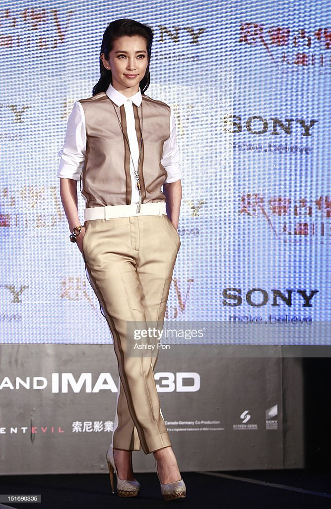Chinese actress/singer Li Bingbing poses during the 'Resident Evil 5: Retribution' press conference on September 10, 2012 in Taipei, Taiwan.